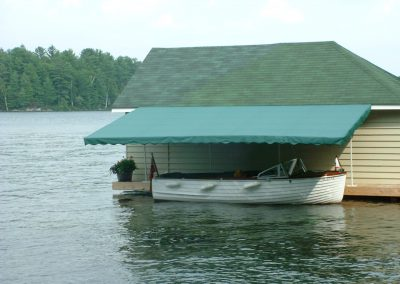 Off the wall boat awning
